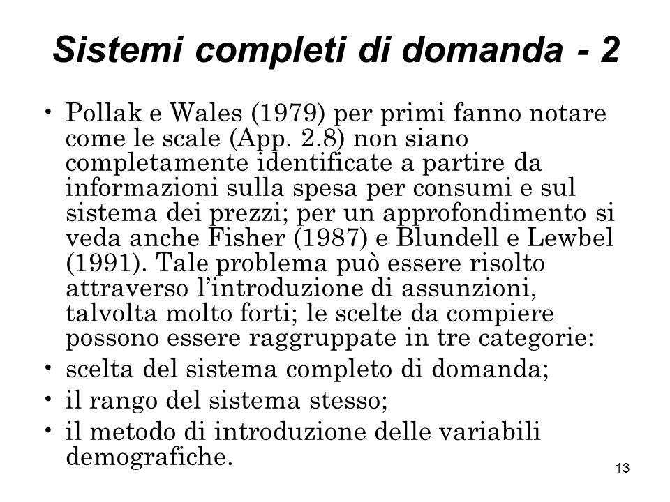 Sistemi completi di domanda - 2
