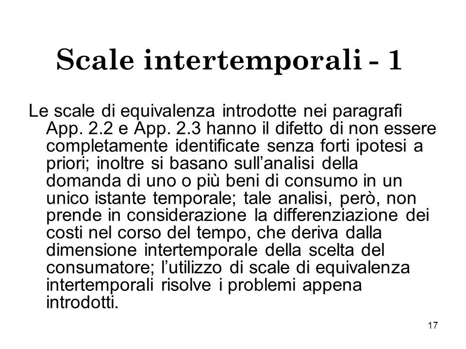 Scale intertemporali - 1