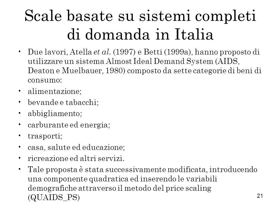 Scale basate su sistemi completi di domanda in Italia