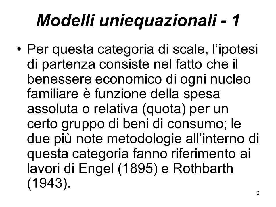Modelli uniequazionali - 1
