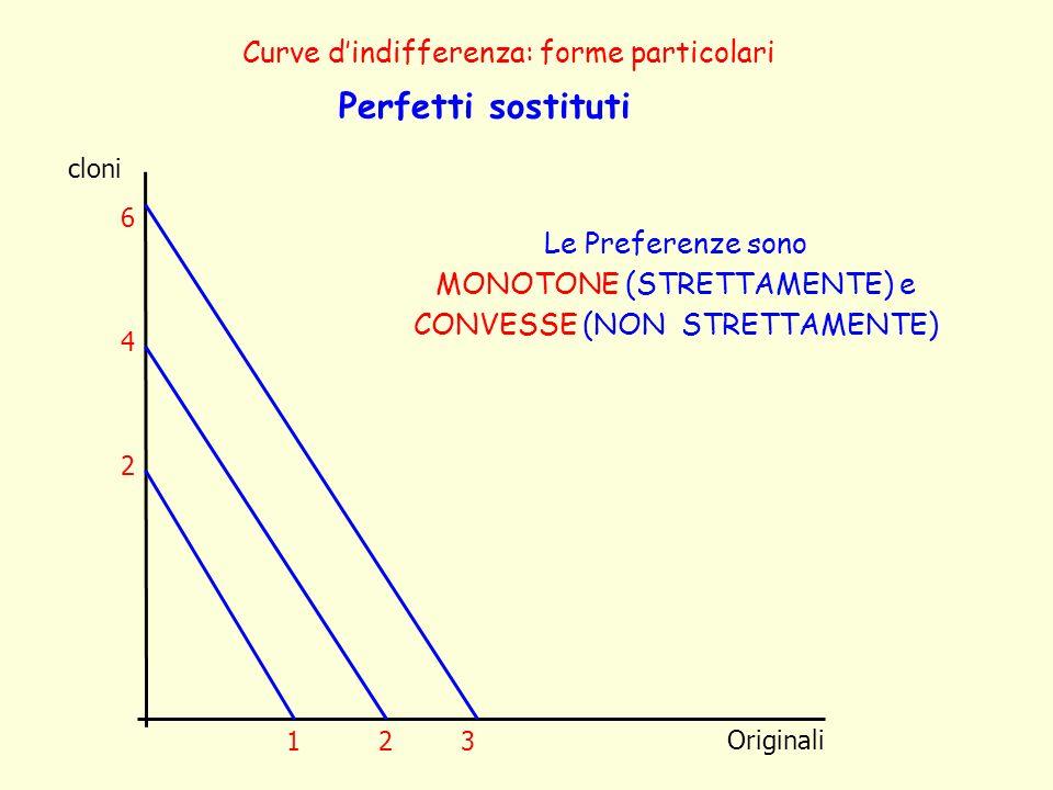 Perfetti sostituti Curve d'indifferenza: forme particolari
