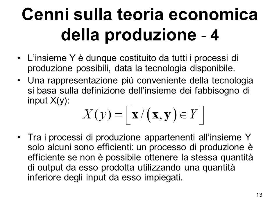 Cenni sulla teoria economica della produzione - 4