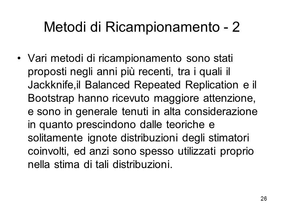 Metodi di Ricampionamento - 2