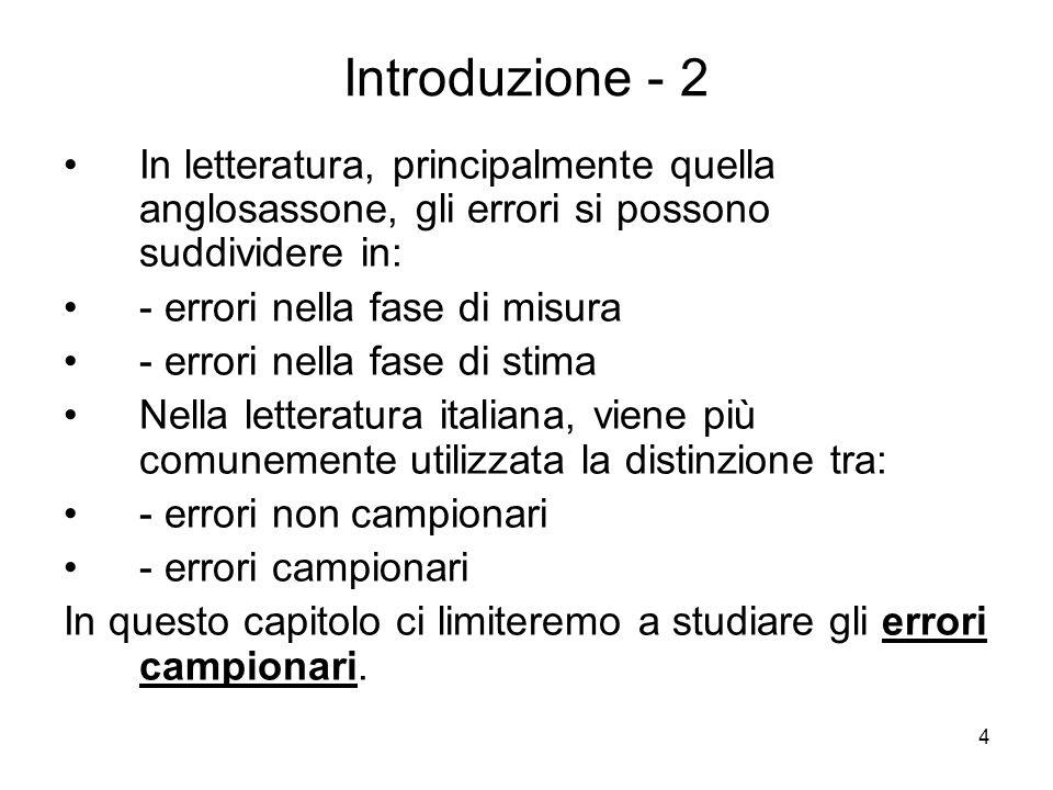 Introduzione - 2 In letteratura, principalmente quella anglosassone, gli errori si possono suddividere in: