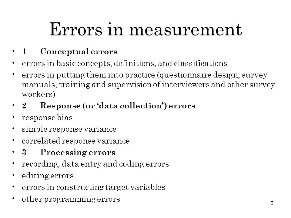 Errors in measurement 1 Conceptual errors