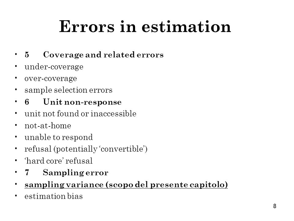 Errors in estimation 5 Coverage and related errors under-coverage