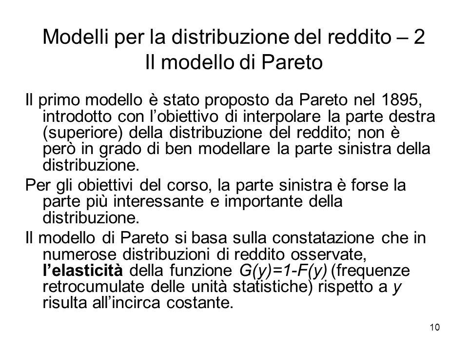 Modelli per la distribuzione del reddito – 2 Il modello di Pareto
