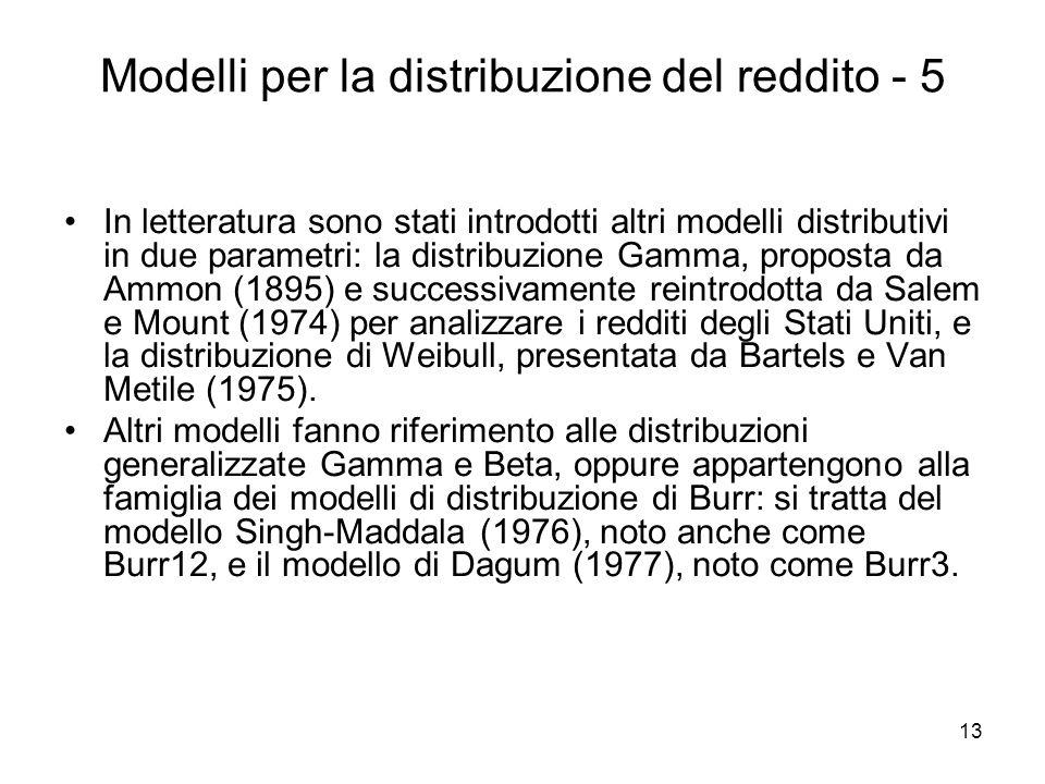 Modelli per la distribuzione del reddito - 5