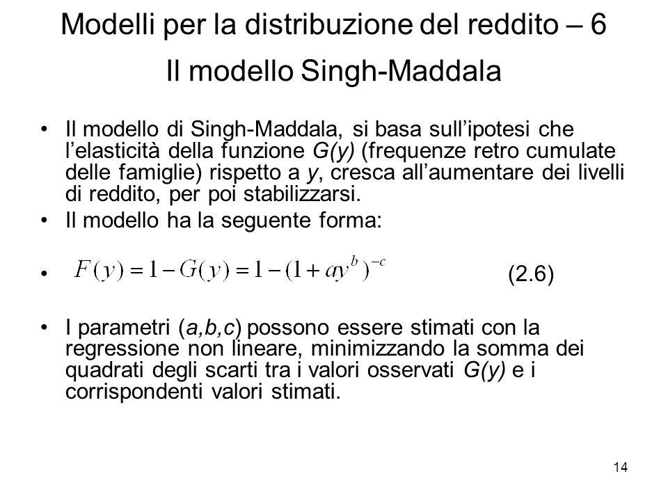 Modelli per la distribuzione del reddito – 6 Il modello Singh-Maddala