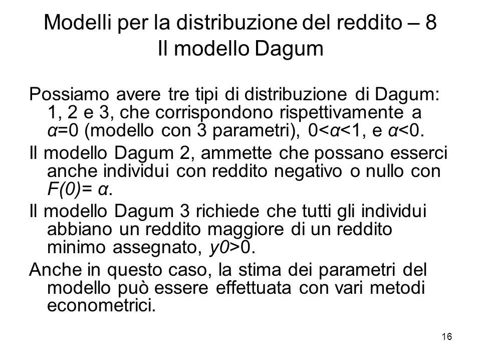 Modelli per la distribuzione del reddito – 8 Il modello Dagum