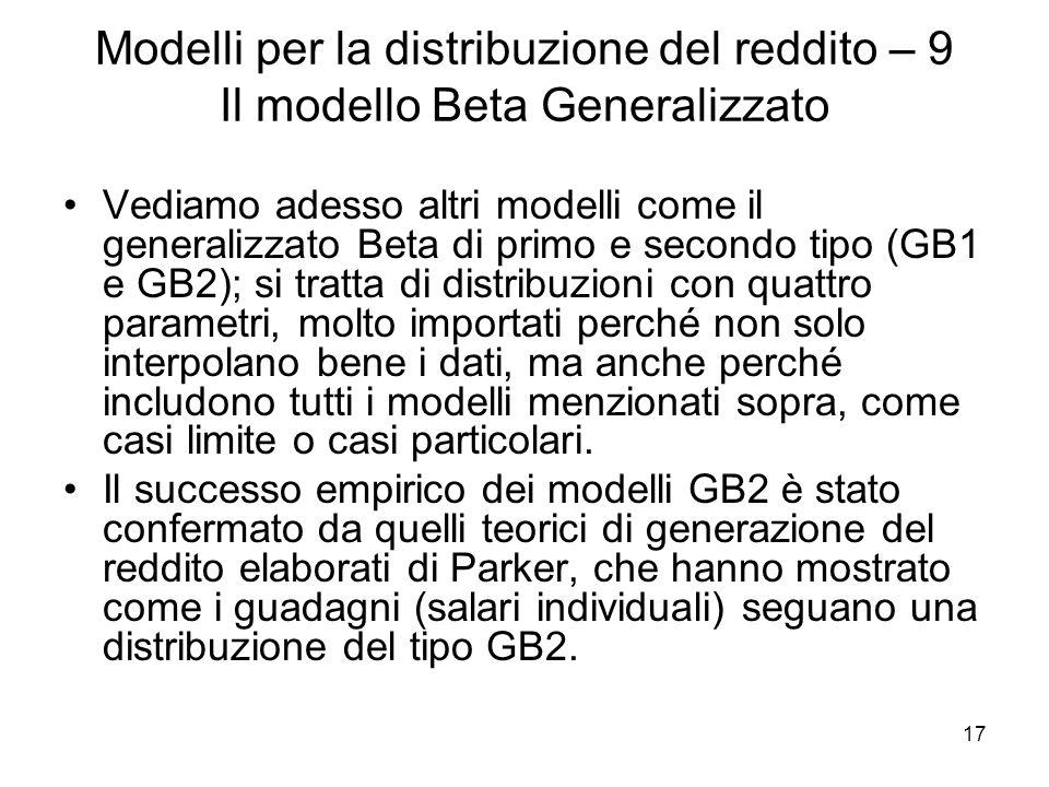 Modelli per la distribuzione del reddito – 9 Il modello Beta Generalizzato