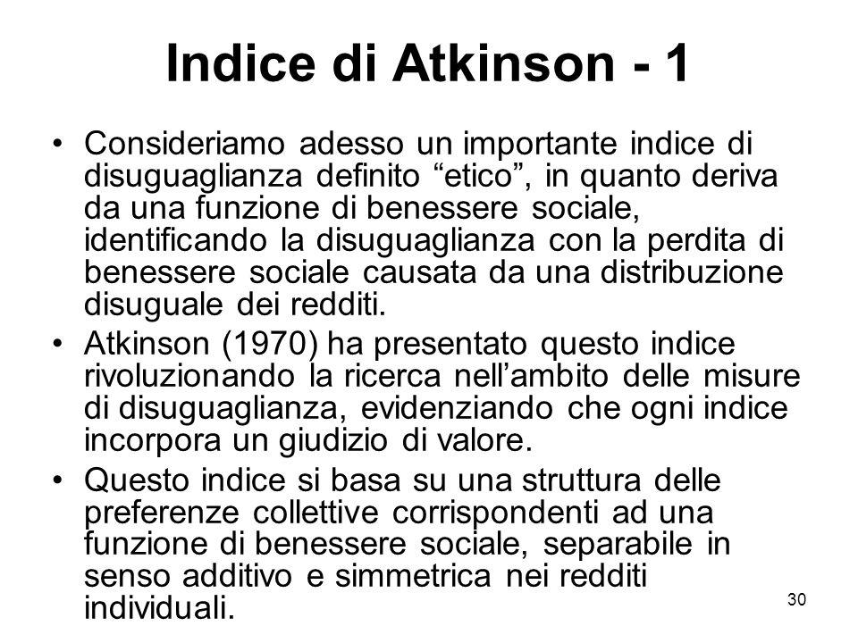 Indice di Atkinson - 1