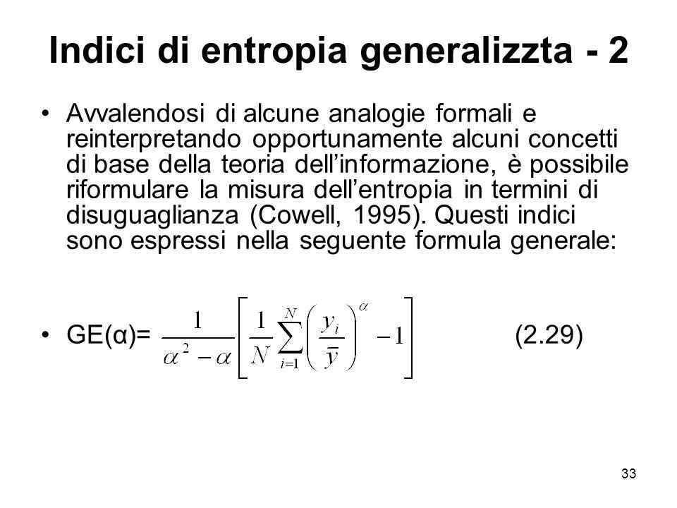 Indici di entropia generalizzta - 2