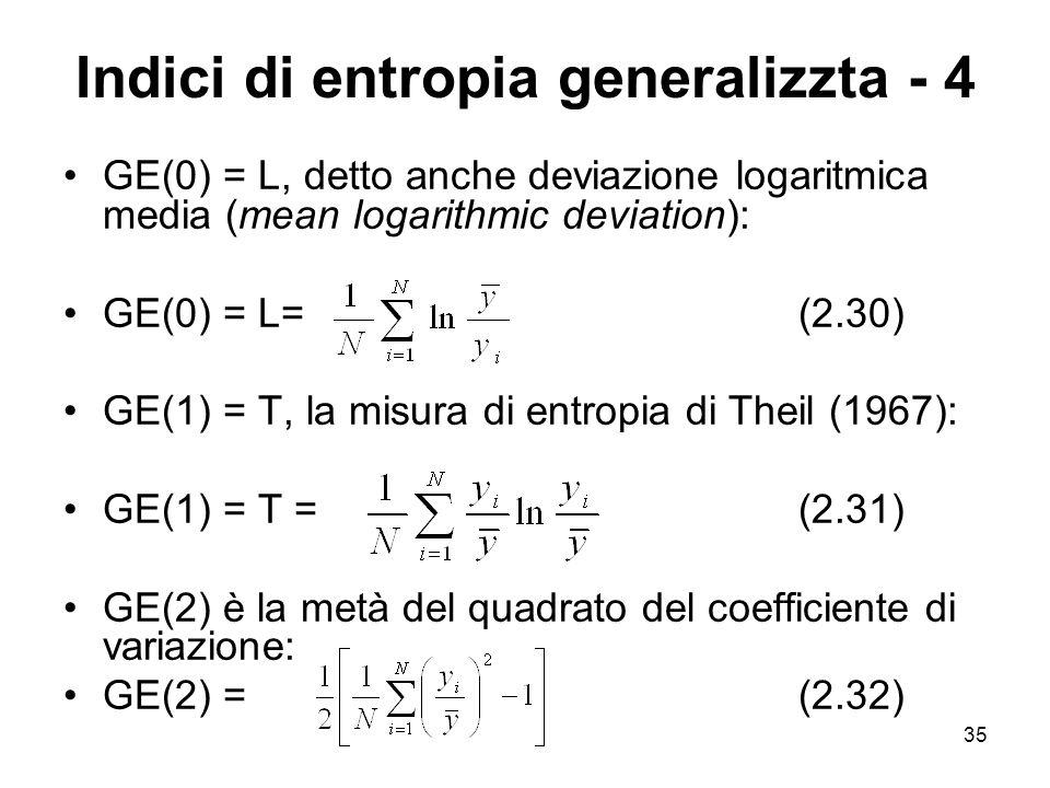 Indici di entropia generalizzta - 4