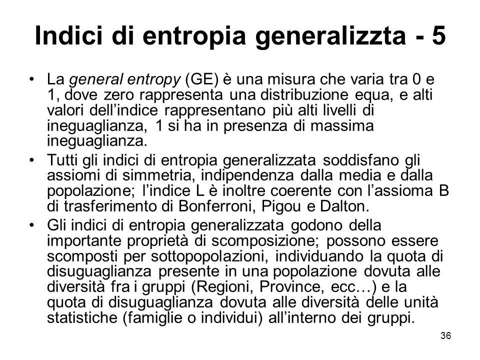 Indici di entropia generalizzta - 5