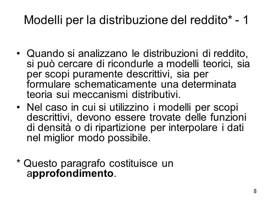 Modelli per la distribuzione del reddito* - 1