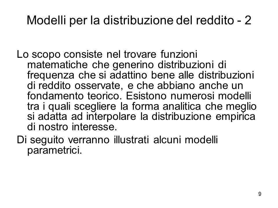 Modelli per la distribuzione del reddito - 2