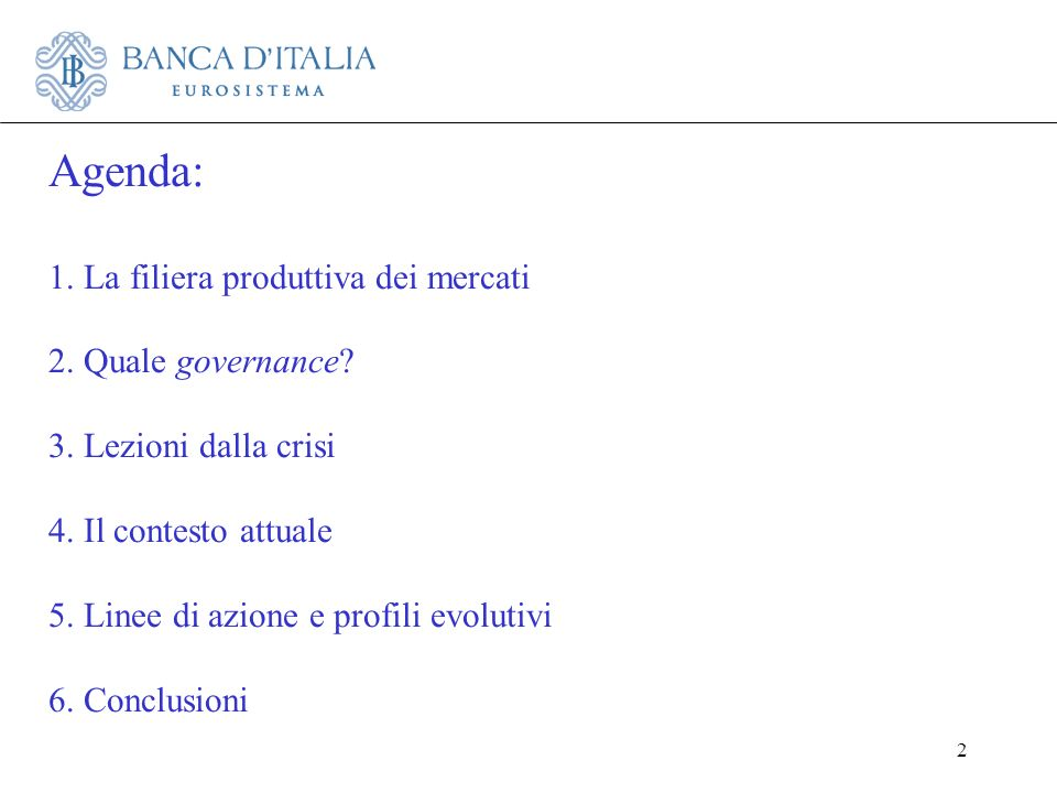 Agenda: 1. La filiera produttiva dei mercati 2. Quale governance. 3