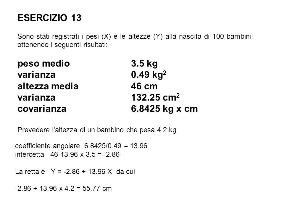 ESERCIZIO 13 peso medio 3.5 kg varianza 0.49 kg2 altezza media 46 cm