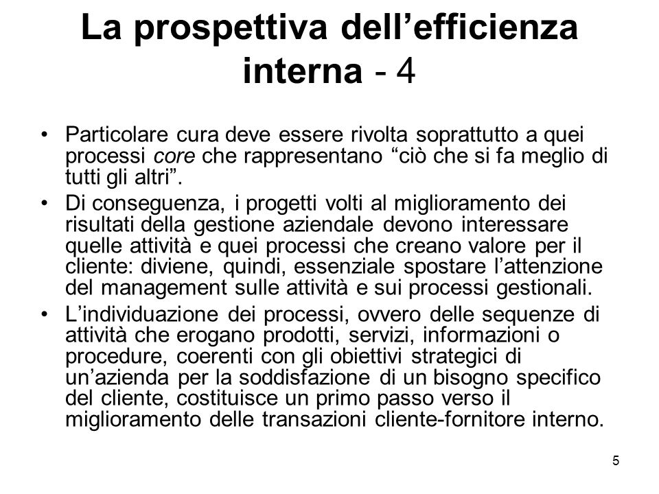 La prospettiva dell'efficienza interna - 4