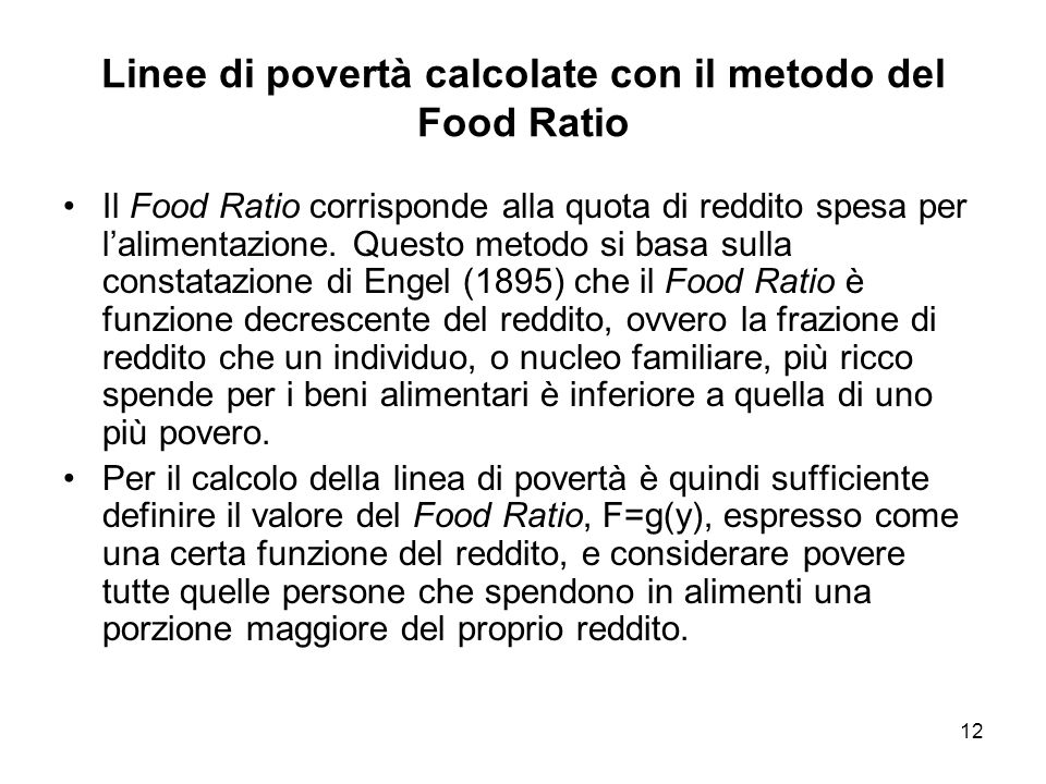 Linee di povertà calcolate con il metodo del Food Ratio