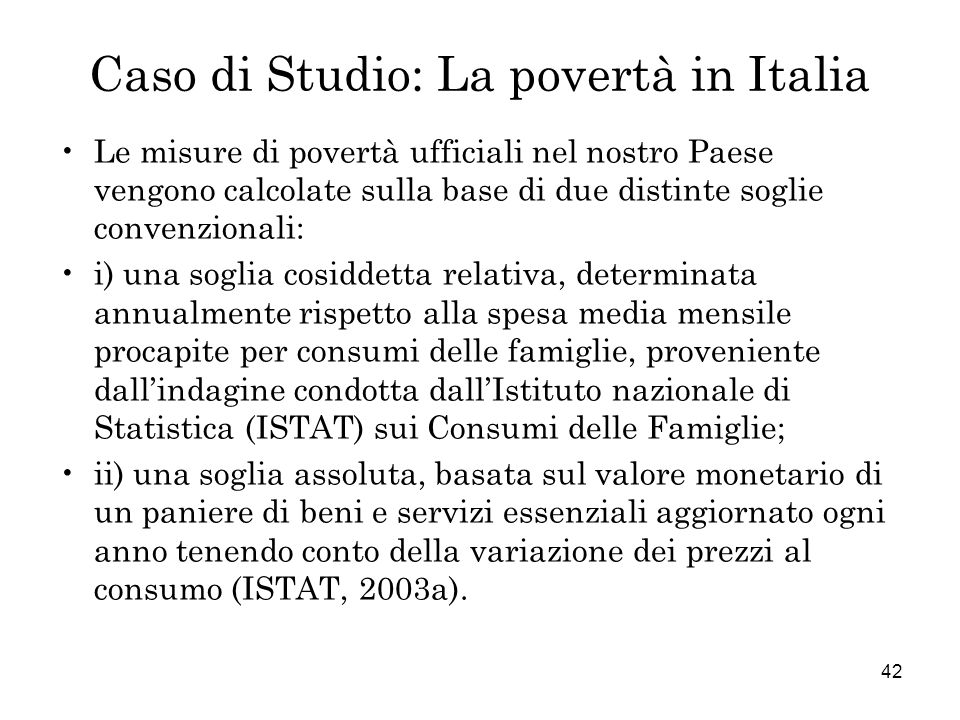 Caso di Studio: La povertà in Italia