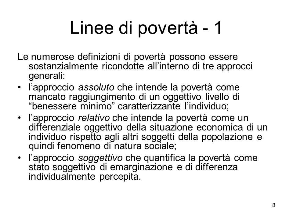 Linee di povertà - 1 Le numerose definizioni di povertà possono essere sostanzialmente ricondotte all'interno di tre approcci generali: