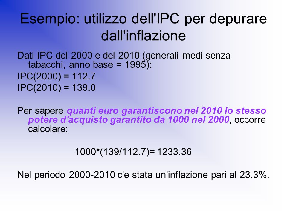 Esempio: utilizzo dell IPC per depurare dall inflazione