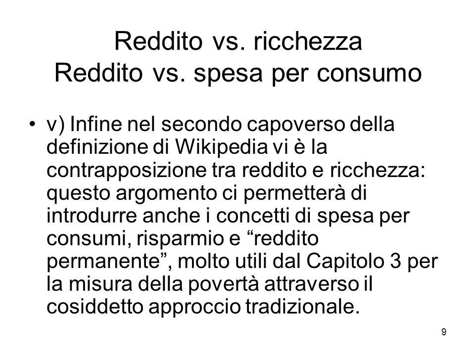 Reddito vs. ricchezza Reddito vs. spesa per consumo
