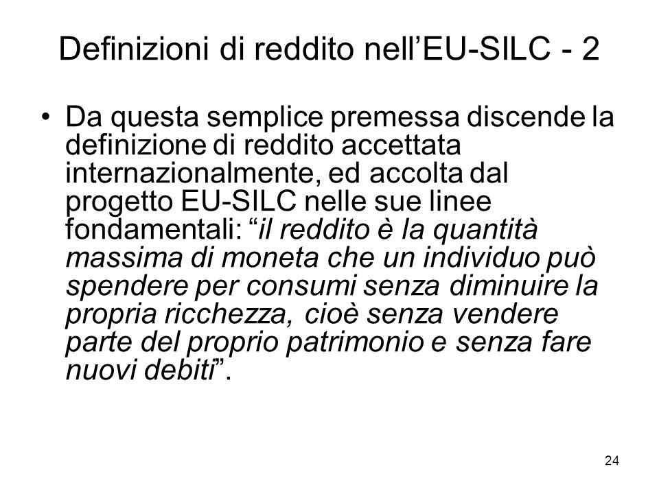 Definizioni di reddito nell'EU-SILC - 2