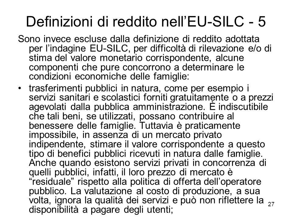 Definizioni di reddito nell'EU-SILC - 5