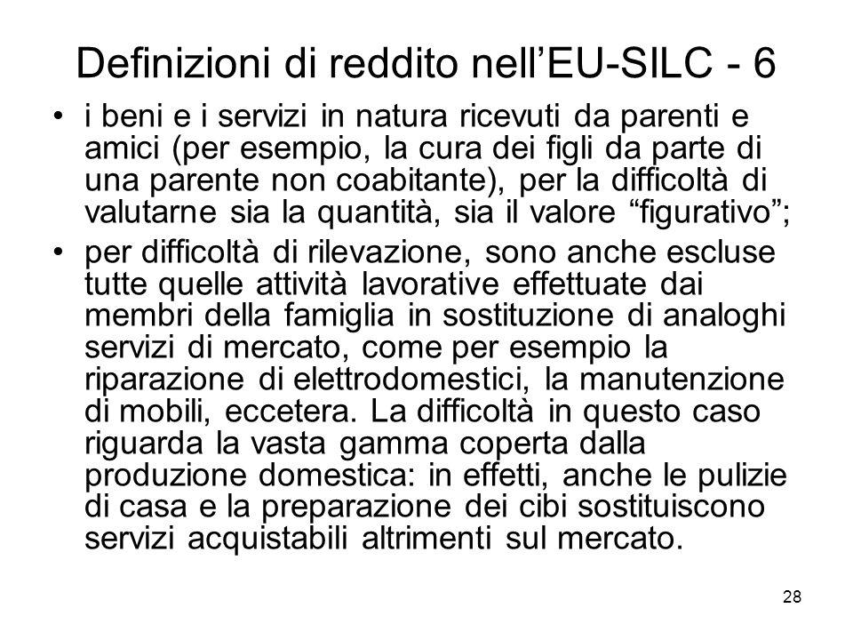 Definizioni di reddito nell'EU-SILC - 6