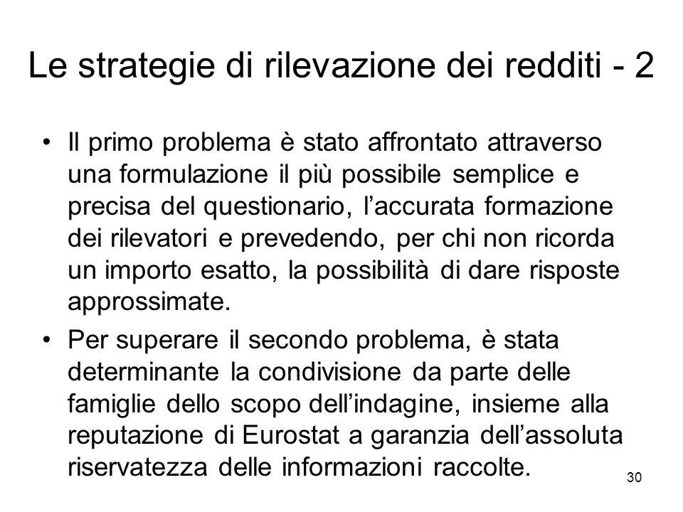 Le strategie di rilevazione dei redditi - 2