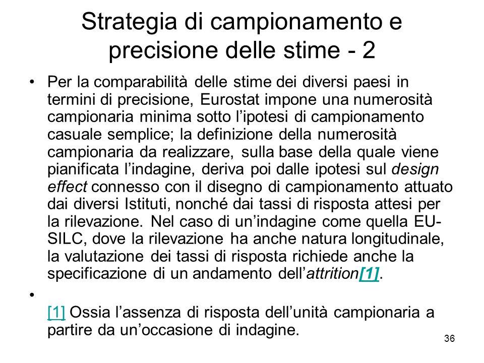 Strategia di campionamento e precisione delle stime - 2