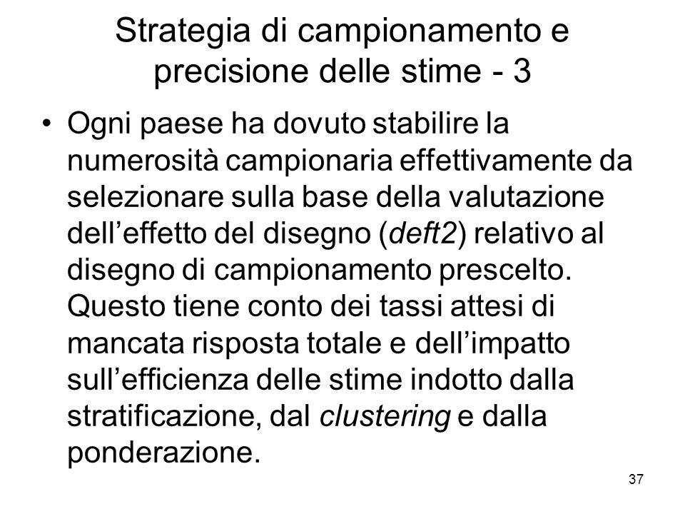 Strategia di campionamento e precisione delle stime - 3