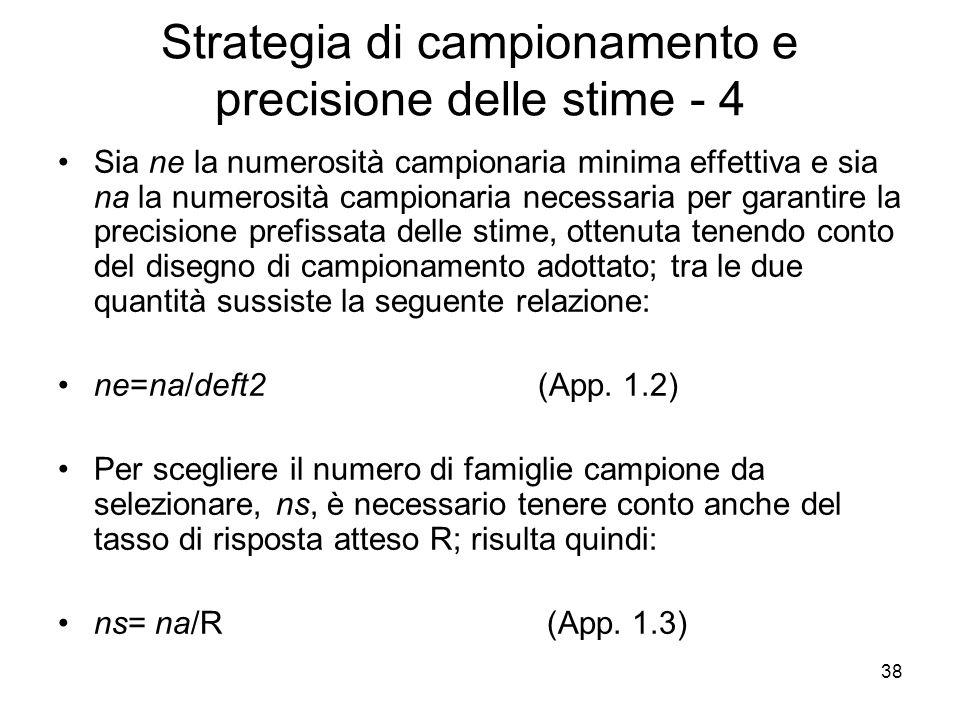 Strategia di campionamento e precisione delle stime - 4