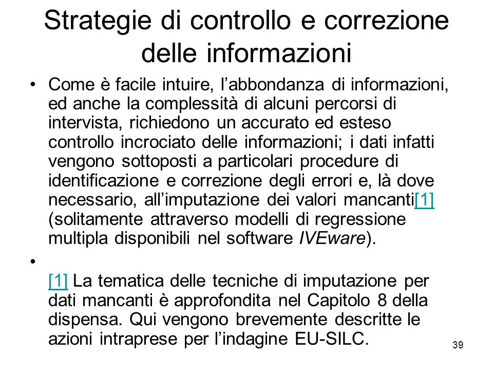 Strategie di controllo e correzione delle informazioni