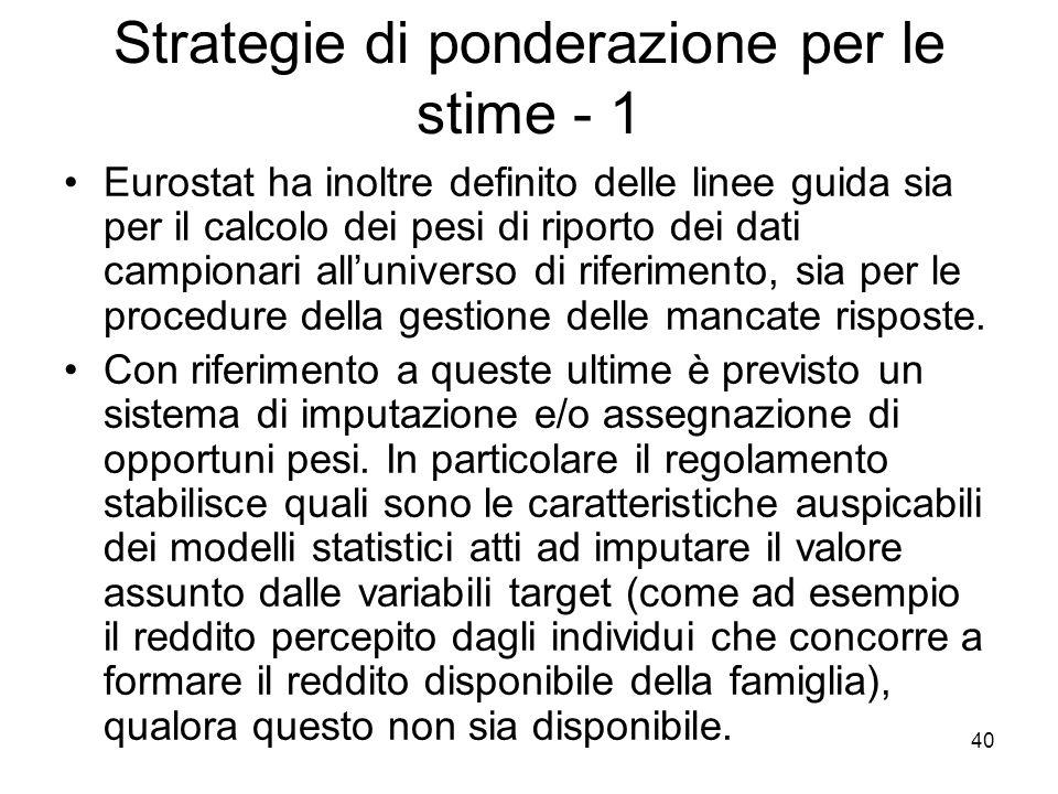 Strategie di ponderazione per le stime - 1