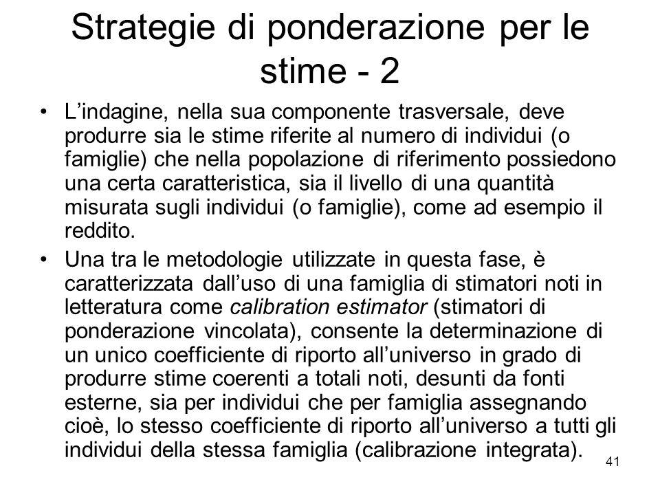Strategie di ponderazione per le stime - 2