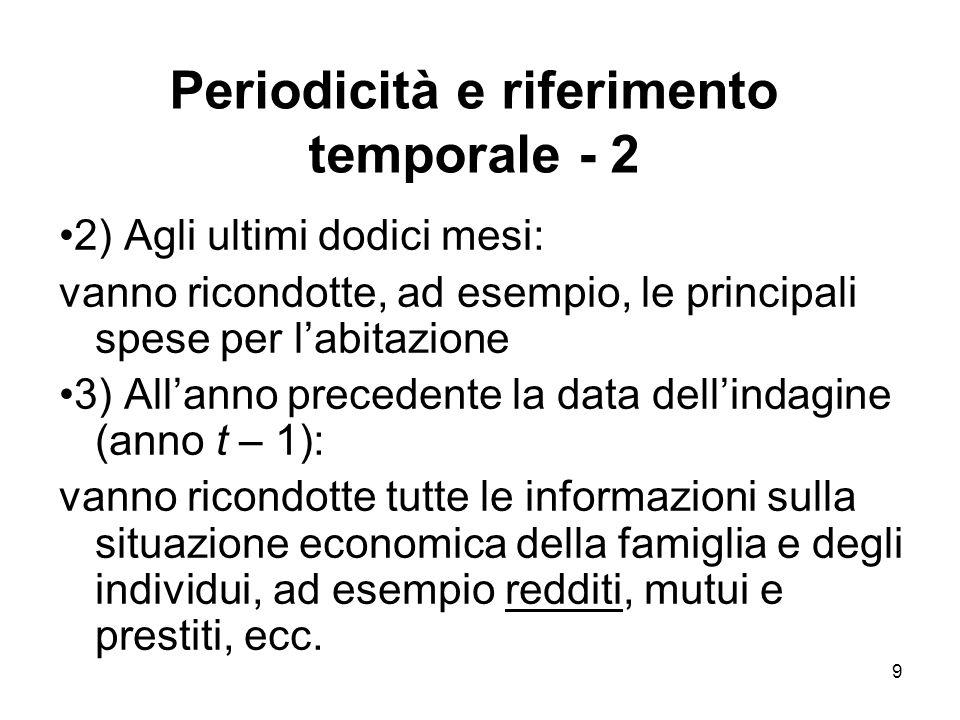 Periodicità e riferimento temporale - 2
