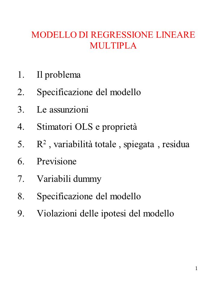 MODELLO DI REGRESSIONE LINEARE MULTIPLA