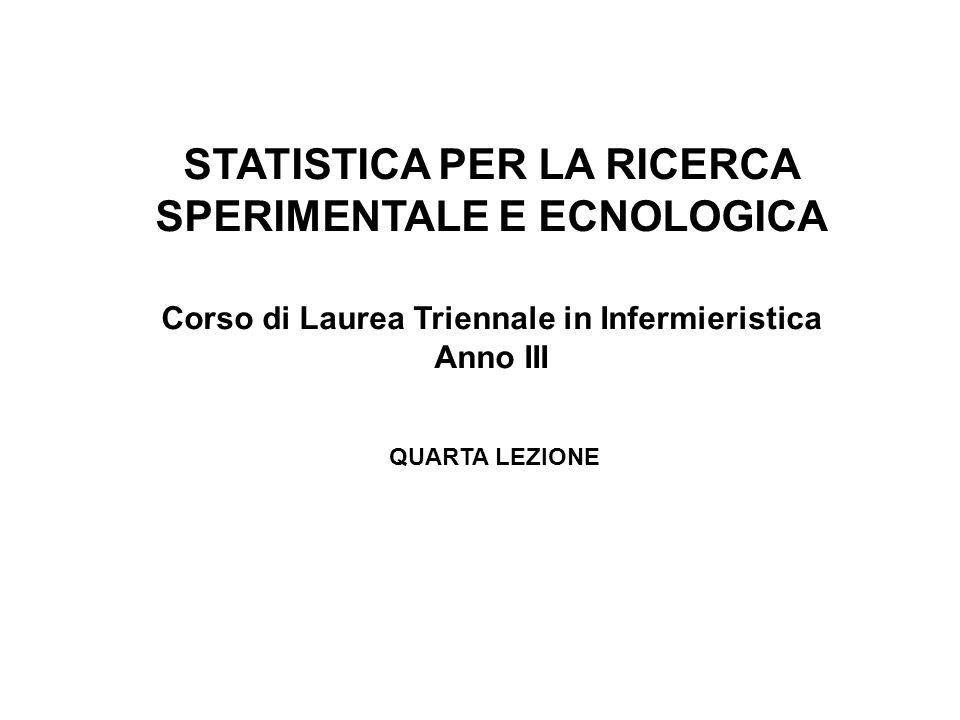 STATISTICA PER LA RICERCA SPERIMENTALE E ECNOLOGICA
