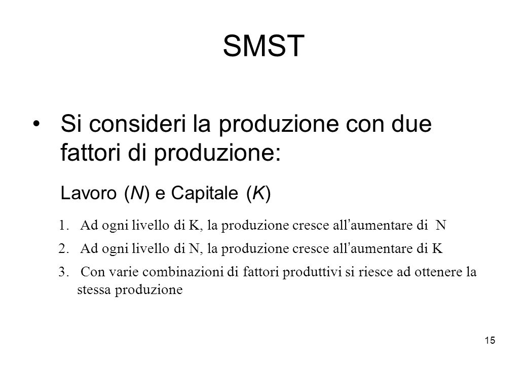 SMST Lavoro (N) e Capitale (K)