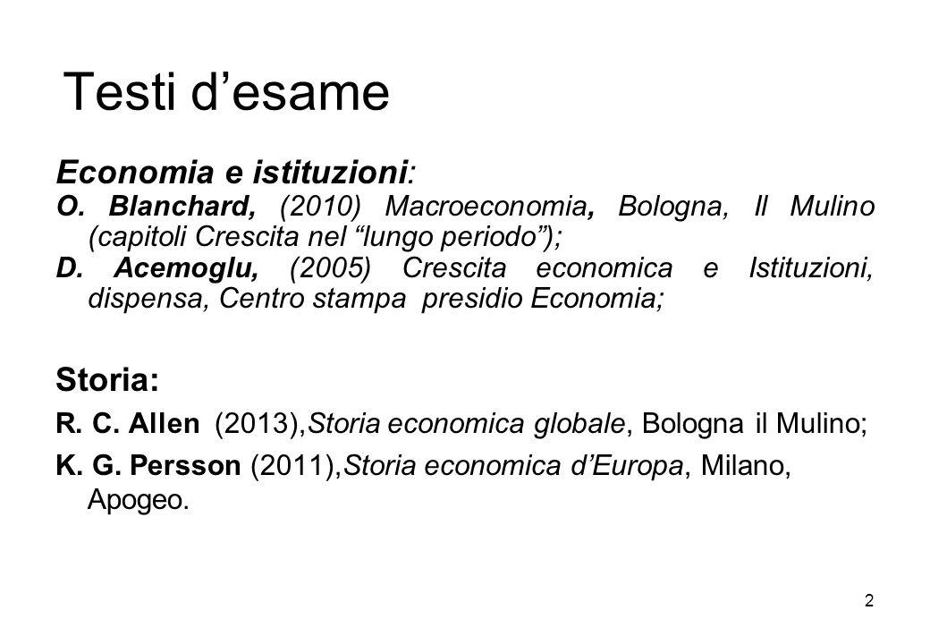 Testi d'esame Economia e istituzioni: Storia: