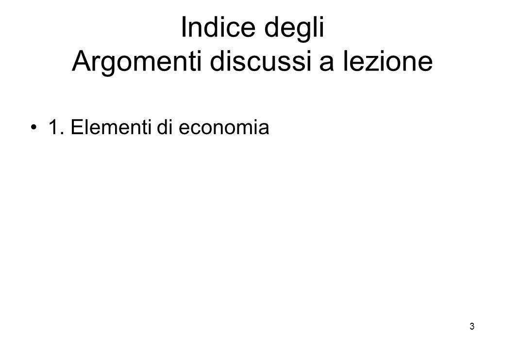 Indice degli Argomenti discussi a lezione