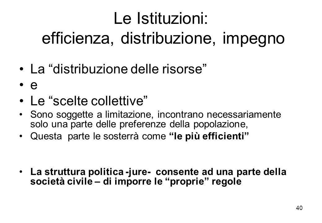 Le Istituzioni: efficienza, distribuzione, impegno