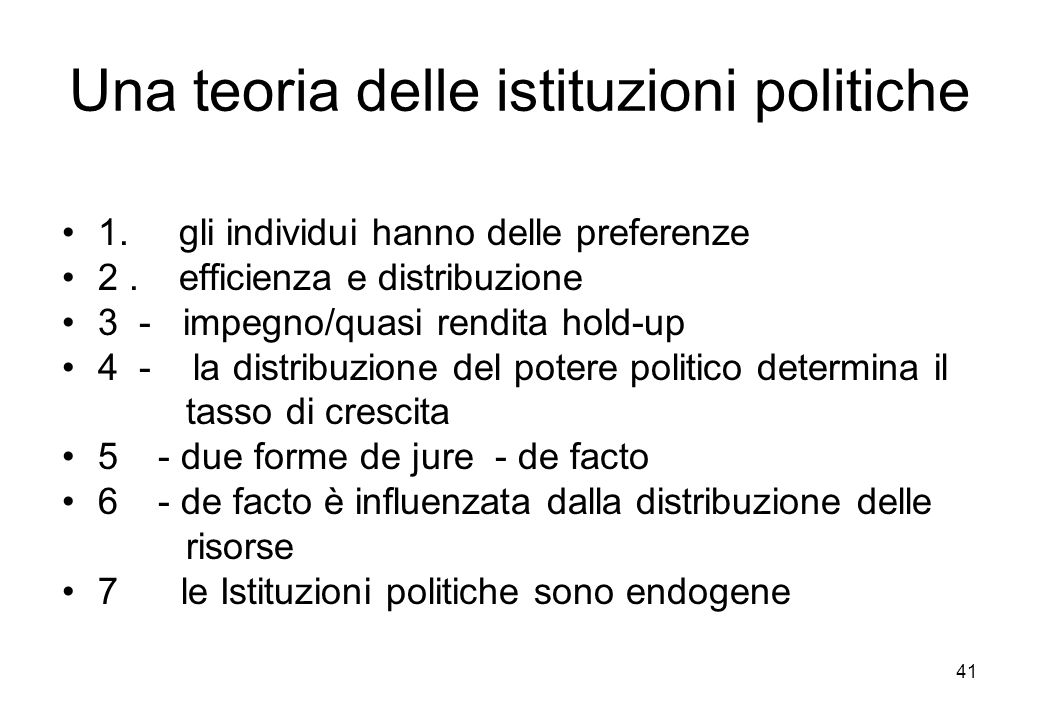 Una teoria delle istituzioni politiche