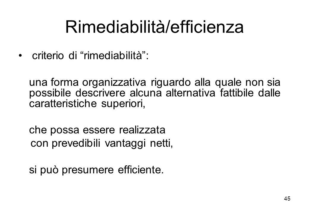Rimediabilità/efficienza