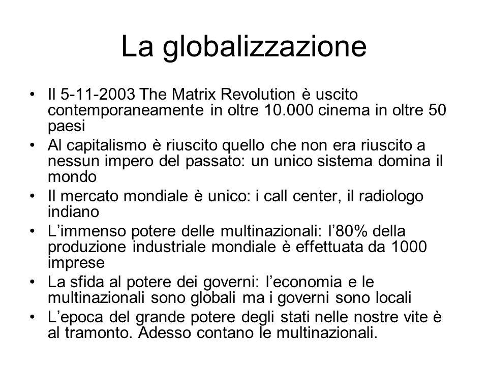 La globalizzazione Il 5-11-2003 The Matrix Revolution è uscito contemporaneamente in oltre 10.000 cinema in oltre 50 paesi.