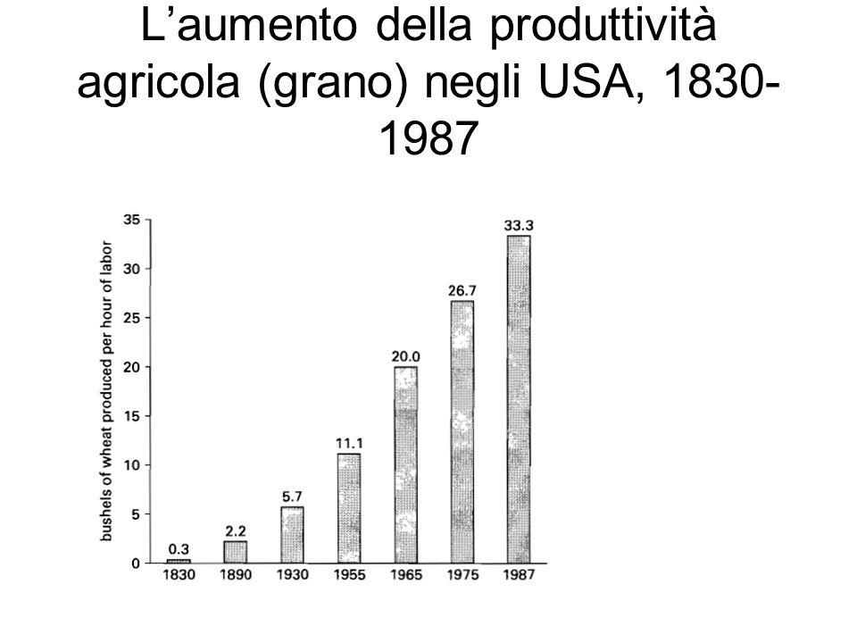 L'aumento della produttività agricola (grano) negli USA, 1830-1987
